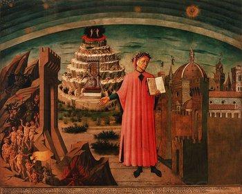 """Alegoría de """"La Divina Comedia"""" y Florencia de Domenico di Michelino. Dante sostiene su obra. A un lado está Florencia y al otro, una visión del infierno. Detrás de Dante, humanos que intentan ascender al cielo"""