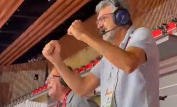 José Montesano y Hugo Conte en una trasmisión de los Juegos de Tokyo 2020