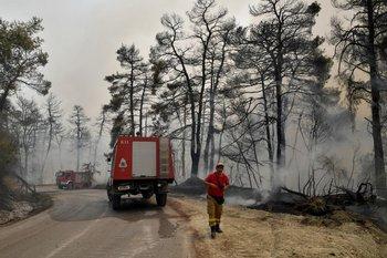 Los bomberos controlan el incendio en una carretera en el norte de Evia, Grecia