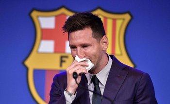 Messi en su despedida de Barcelona