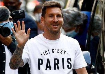 Lionel Messi durante su presentación en el PSG