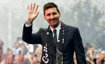 Lionel Messi durante su presentación.
