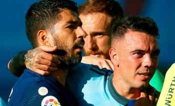 Luis Suárez y Iago Aspas de Celta de Vigo al finalizar el partido