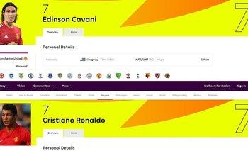 El sitio oficial de la Premier League colocó a Cavani y a Cristiano Ronaldo con el número 7 de Manchester United