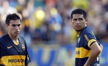 Nicolás Gaitán y Juan Román Riquelme cuando jugaban juntos en Boca Juniors