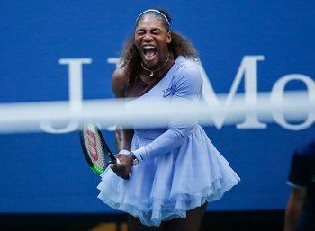 Serena festejó con todo el triunfo ante la estonia Kaia Kanepi