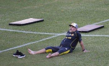 Maradona en su primera práctica en Dorados