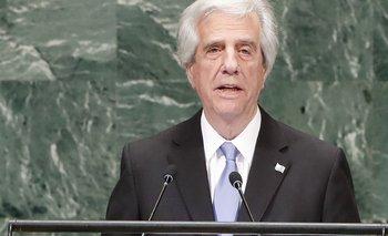 El presidente Tabaré Vázquez en la mañana de este miércoles hablando ante la Asamblea General de Naciones Unidas