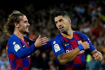 Griezmann y Luis Suárez en Barcelona