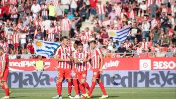 Cristhian Stuani y el festejo por el gol del triunfo de Girona: 1-0 ante Las Palmas