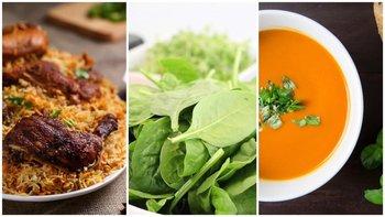 Pollo/Ensalada verde/Sopa