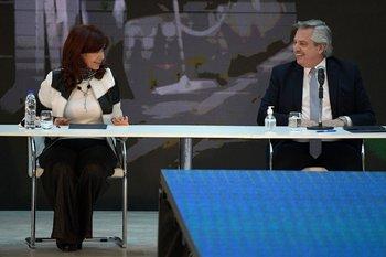 La vicepresidenta argentina, Cristina Fernández de Kirchner, junto al presidente Alberto Fernández