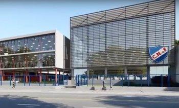Una proyección de la fachada del Club Social de Nacional