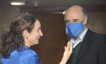 La senadora Carmen Sanguinetti y el ministro Pablo Mieres