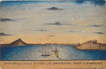 Vista de la ciudad y cerro de Montevideo tomada desde a bordo