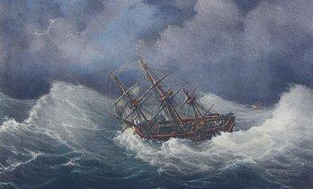 El barco Jean Bart y la corbeta L´aigrette soportando un pampero, Lemercier