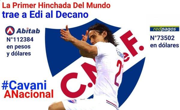 Hinchas de Nacional abren una cuenta para traer a Cavani que fue ofrecido a Real Madrid