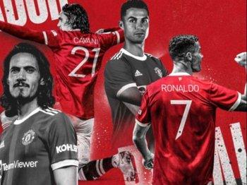 Edinson Cavani con la número 21 de Manchester United y Cristiano Ronaldo con la 7