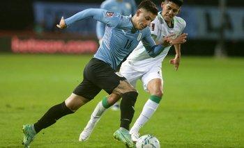 Brian Rodríguez en el partido contra Bolivia