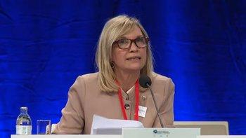 La vicepresidenta participó este martes de la Conferencia Mundial de Presidentes de Parlamento