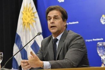 Luis Lacalle Pou en conferencia de prensa por el Tratado de Libre Comercio con China