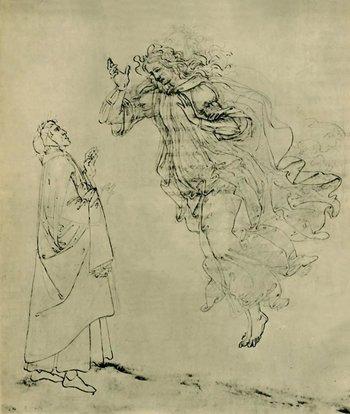 Un dibujo de Sandro Botticelli de Beatrice Portinari guiando a Dante por el paraíso.