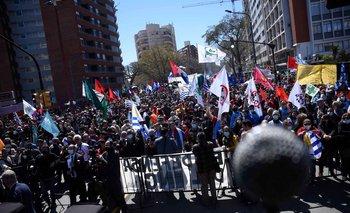 Manifestación sindical en Montevideo.
