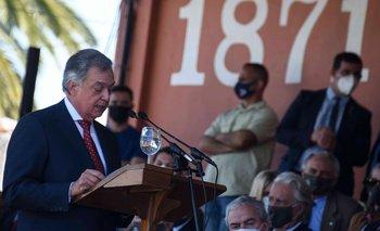 Ministro Mattos en su discurso en la Rural del Prado.