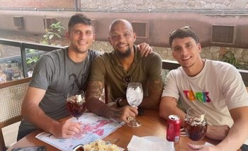 Joaquín Piquerez y su almuerzo junto a Felipe Melo y Benjamín Kuscevic