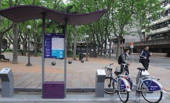 Estación de bicicletas del sistema Movete, una de las ocho que había en el entorno de la Ciudad Vieja
