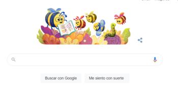 Así aparece la página de inicio del buscador en el Día del Maestro en Uruguay.