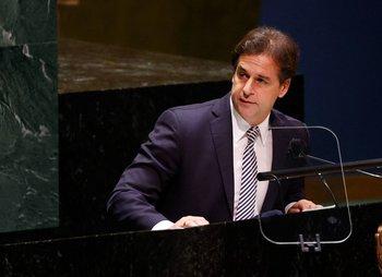 Lacalle Pou en su discurso ante la Asamblea de las Naciones Unidas, en Nueva York, este miércoles