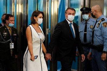Michelle Bolsonaro llega a Nueva York junto a su esposo, Jair Bolsonaro, el 21 de setiembre de 2021
