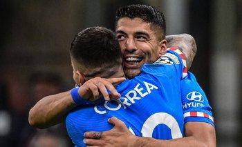 El festejo de Suárez con Correa