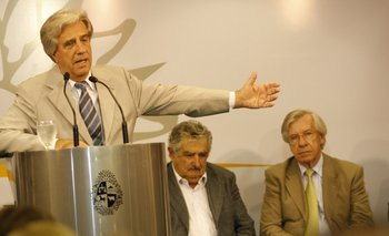 Tabaré Vázquez, José Mujica y Danilo Astori, los líderes fundamentales del ciclo frenteamplista.