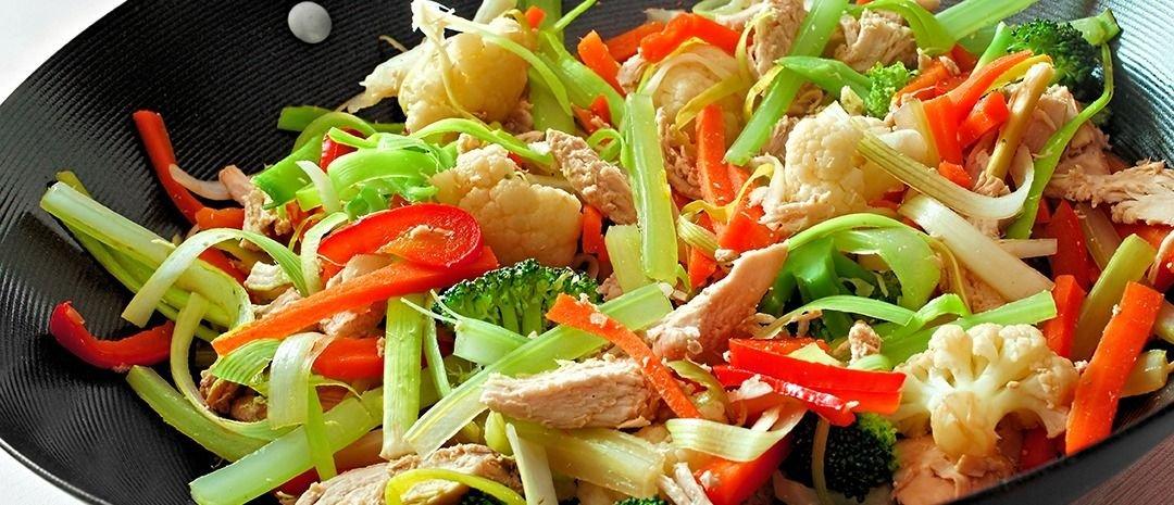 Wok de carne y vegetales.