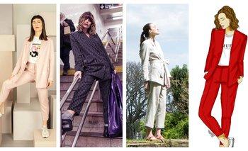La cocinera Irene Delponte para la colección cápsula de Couture para Rotunda; Victoria Saravia con traje de Black & Liberty; uno de los diseños de la última colección de Pacta; boceto de una de las creaciones femeninas de Muto Studio