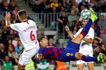 Luis Suárez, marcó ante Sevilla