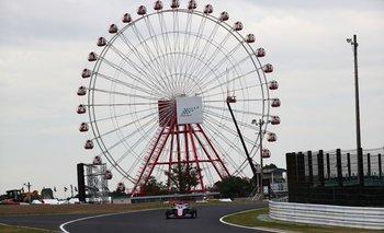 Sergio Pérez en uno de los ensayos en Japón, donde el tifón Hagibis amenaza la carrera