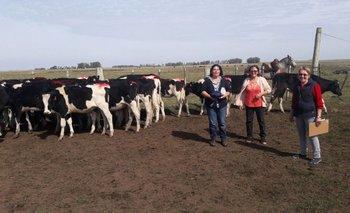 Mujeres Rurales de Colonia Antonio Rubio junto a sus vaquillonas.