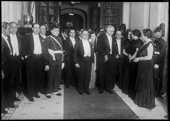 Recepción al presidente de Brasil, Getúlio Vargas, en junio de 1935. Luis Alberto de Herrera es el segundo por la izquierda, Getúlio Vargas está al centro y, a su lado, Gabriel Terra