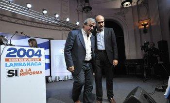 Jorge Larrañaga y Pablo Abdala durante la campaña electoral de 2019