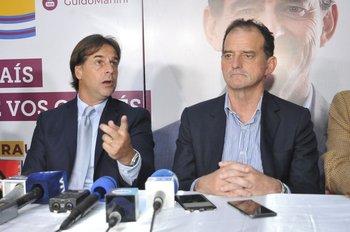 Conferencia de prensa tras la reunión entre Lacalle Pou y Manini Ríos previa al balotaje