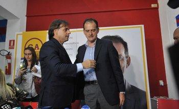 Luis Lacalle y Guido Manini Ríos durante la campaña electoral de 2019