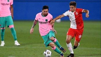 Joaquín Zeballos, en Girona, ante Messi