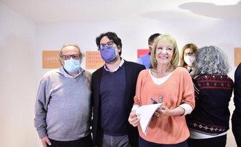 Daniel Olesker, Mauricio Zunino y Carolina Cosse en la presentación del Plan ABC