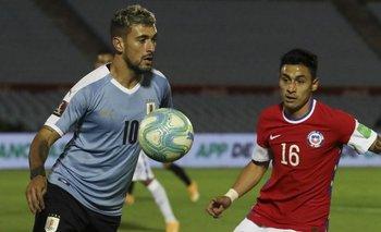 De Arrascaeta en el último partido ante Chile, en octubre 2020
