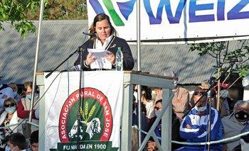 Pilar Camy, durante su discurso en San José.