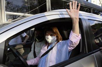Patricia Bullrich durante una protesta contra el gobierno argentino