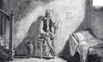 Un grabado de Luis Carlos, hijo de Luis XVI de Francia y María Antonieta en la Torre del Temple.